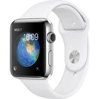Apple Watch Seri 2 38 mm Paslanmaz Çelik Kasa ve Beyaz Spor Kordon-MNP42TU/A