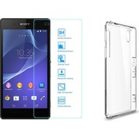 Blueway Sony Xperia Z2 Kırılmaz Cam Ekran Koruyucu + Şeffaf Silikon Kılıf