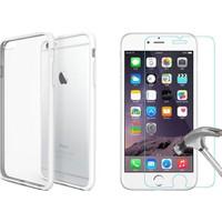 Blueway Apple İphone 6 - 6S Kırılmaz Cam Ekran Koruyucu + Şeffaf Silikon Kılıf