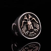 Sümer Telkari Çift Başlıklı Kartal Tasarım Elişi Gümüş Yüzük 349