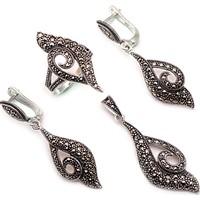 Sümer Telkari Markazit Taşlı Tasarım Gümüş Set 1006