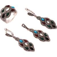 Sümer Telkari Markazit Taşlı Tasarım Gümüş Set 1306