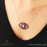 Else Silver Fujya Göz Gümüş Kolye