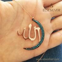 Else Silver Ay Allah Lafzı Gümüş Kolye
