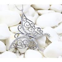 Else Silver Beyaz Taşlı Kelebek Kolye