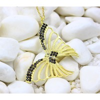 Else Silver Siyah Sarı Ruby Taşlı Kelebek Kolye