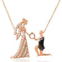 Else Silver Romantik Çift Gümüş Kolye