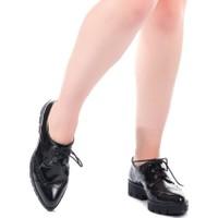 Modabuymus Cgr Siyah Rugan Bağcıklı Kadın Ayakkabı