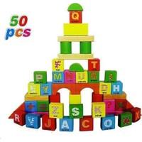 Kayıkcı ahşap 50 Parça Kutulu Bloklar - Kutulu Bultaklı - Letter Wooden Block