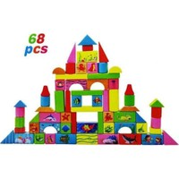 Kayıkcı renkli Ahşap Bloklar 68 Parça - Bultaklı Özel Kutusunda