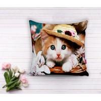 RealHomes Şapkalı Kedi Dijital Baskılı Dekoratif Yastık Kırlent Kılıfı