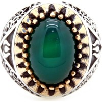 Tesbihci Dede Yeşil Akik Taşlı Özel Tasarım Erkek Gümüş Yüzük
