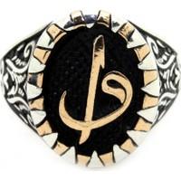 Tesbihci Dede Arapça Elif ve Vav Harfi Gümüş Erkek Yüzük