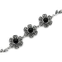 Tesbihci Dede Çiçek Model Oltu Taşı Gümüş Bayan Bileklik