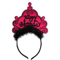 KullanAtMarket Tüylü Şeker Pembe Happy Birthday Taç - 1 Adet