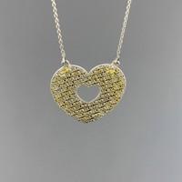 Tuğrul Kuyumculuk Yeşil - Beyaz Altın Taşsız Kalp Kolye