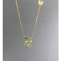 Tuğrul Kuyumculuk Yeşil Altın Taşlı Yıldız Kolye
