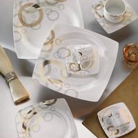 Kütahya Porselen Aliza Bone 83 Parça 35101 Desenli Yemek Takımı