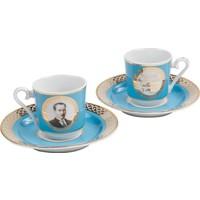 Kütahya Porselen Atatürk Turkuaz Kahve Fincan Takımı