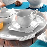 Kütahya Porselen Balık Çay Fincan Ve Tabağı