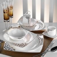 Kütahya Porselen Fileli Kare Bone 83 Parça 60109 Desenli Yemek Takımı