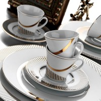 Kütahya Porselen İris 12 Parça 4699 Desen Kahve Takımı