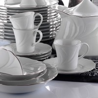 Kütahya Porselen Troya Platin File Çay Fincanı Tabaklı