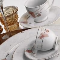 Kütahya Porselen Yasemin 10131 Desen Çay Fincanı Tabaklı