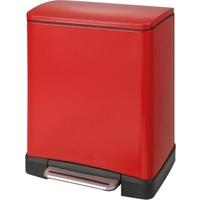 Prima Nova Paslanmaz Çelik 12L Pedallı Çöp Kovası Kırmızı D-15298