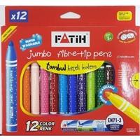 Fatih Süper Yıkanabilir Jumbo Keçeli Boya Kalemi 12 Renk