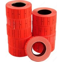 Tanex 12x21 mm Çizgili Flo Kırmızı Fiyat Etiket 800 Adet