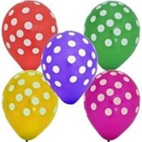 Balon Evi Beyaz Puantiye Desenli Renkli Balon -10 Adet
