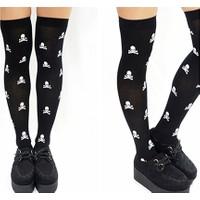 Hkostüm Cadılar Bayramı Kurukafa Desenli Yetişkin Dizüstü Çorap