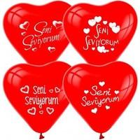 Herkese Kostüm Seni Seviyorum Yazılı Kalp Şeklinde Balon