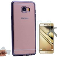 Teleplus Samsung Galaxy C7 Lazer Kesimli Silikon Kılıf + Kırılmaz Cam