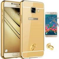 Teleplus Samsung Galaxy J7 Prime Aynalı Metal Kapak Kılıf + Cam Ekran Koruyucu