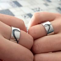 Ashyl Yarım Kalp Çift Alyans, Kalp Gümüş Alyans, Kalpli Çift Alyans