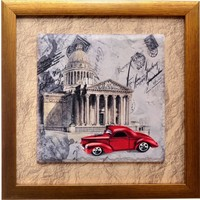 Decotown Müze Kırmızı Araba Ahşap Pano