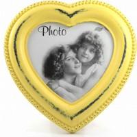 Decotown Eskitme Kalp Ahşap Sarı Fotoğraf Çerçevesi
