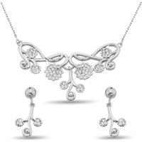 Argentum Concept Zirkon Taşlı Gümüş Çiçek Dalı Set