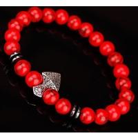 Vidanya Kırmızı Havlit Doğal Taş Tasarımlı Erkek Bileklik