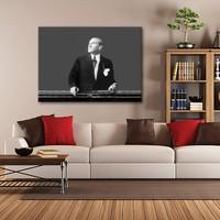 Tablom Siyah Beyaz Atatürk Kanvas Tablo