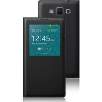 CaseUp Samsung Galaxy Grand Max kılıf View Slim kapaklı Deri Siyah Kırılmaz Cam