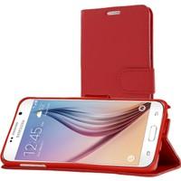 CaseUp Samsung Galaxy S6 Kılıf Cüzdanlı Suni Deri Kırmızı Kırılmaz Cam