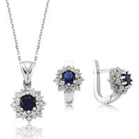 Gumush 925 Ayar Gümüş Mavi Nilüfer Çiçeği Takı Seti - ST1160072