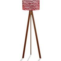 Binbirmarka Kumaş Başlıklı 3 Ayaklı Tripod Lambader - Desenli Kırmızı / Kahve