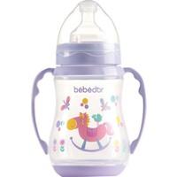 Bebedor Kulplu Desenli Biberon Geniş Ağız 250 ml. Lila
