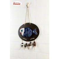 iHouse İh145 Oval Kuş Duvar Süsü Mavi