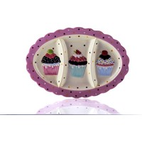 Porio M53-106-3 Bölmeli Puantiyeli Pembe Cupcake Tabak