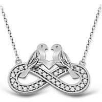 VAOOV 925 Ayar Gümüş Çifte Kumrular Sonsuzluk Kolye